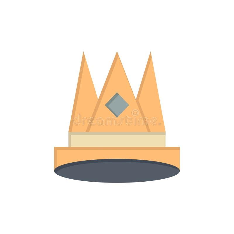 Κορώνα, βασιλιάς, αυτοκρατορία, πρώτα, θέση, επίπεδο εικονίδιο χρώματος επιτεύγματος Διανυσματικό πρότυπο εμβλημάτων εικονιδίων απεικόνιση αποθεμάτων