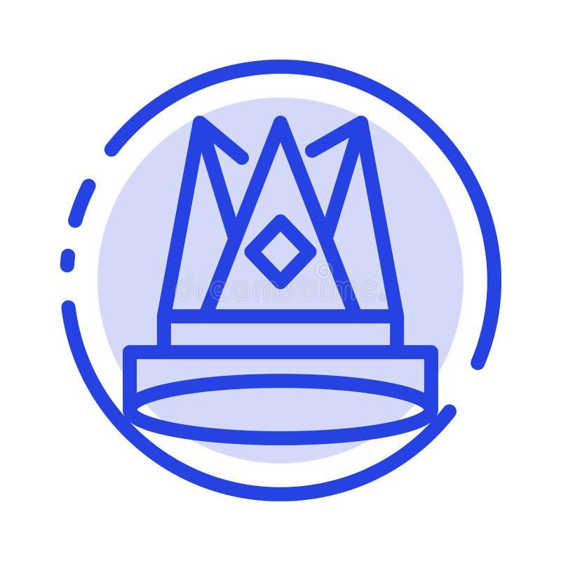 Κορώνα, βασιλιάς, αυτοκρατορία, πρώτα, θέση, μπλε εικονίδιο γραμμών διαστιγμένων γραμμών επιτεύγματος ελεύθερη απεικόνιση δικαιώματος