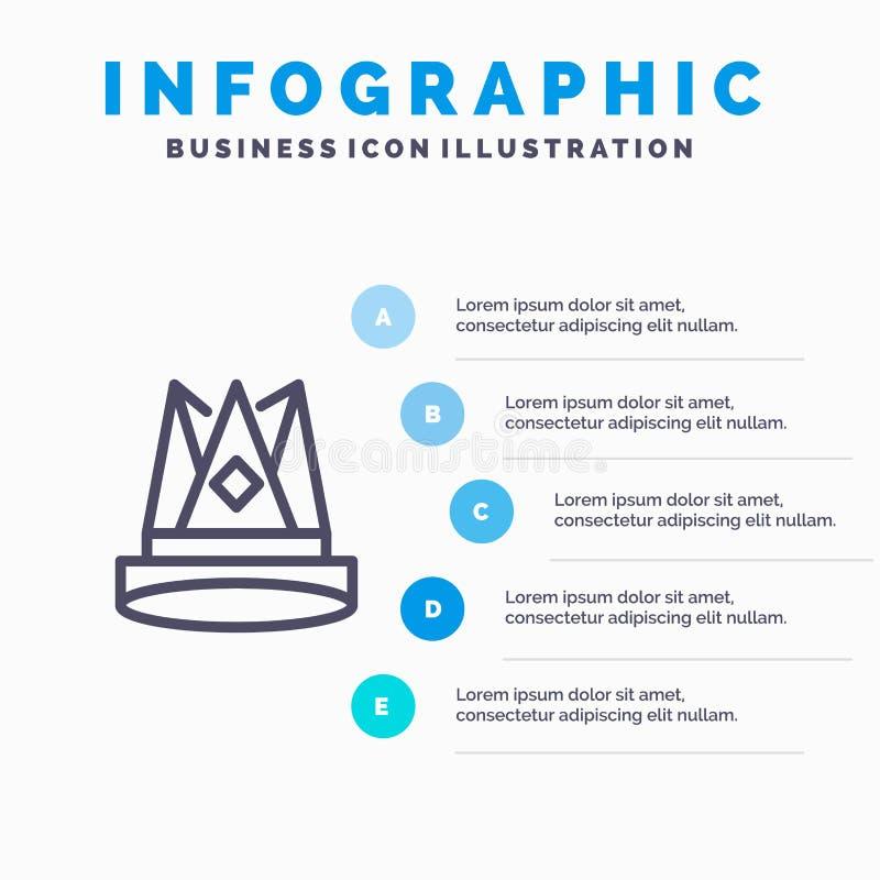Κορώνα, βασιλιάς, αυτοκρατορία, πρώτα, θέση, μπλε πρότυπο 5 Infographics επιτεύγματος βήματα Διανυσματικό πρότυπο εικονιδίων γραμ διανυσματική απεικόνιση