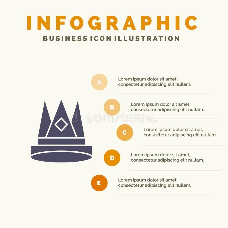 Κορώνα, βασιλιάς, αυτοκρατορία, πρώτα, θέση, πρότυπο παρουσίασης Infographics επιτεύγματος 5 παρουσίαση βημάτων απεικόνιση αποθεμάτων