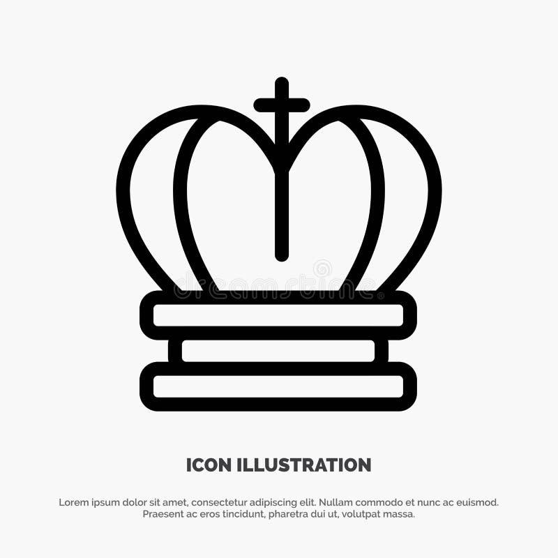 Κορώνα, βασιλιάς, βασιλικός, διάνυσμα εικονιδίων γραμμών αυτοκρατοριών απεικόνιση αποθεμάτων