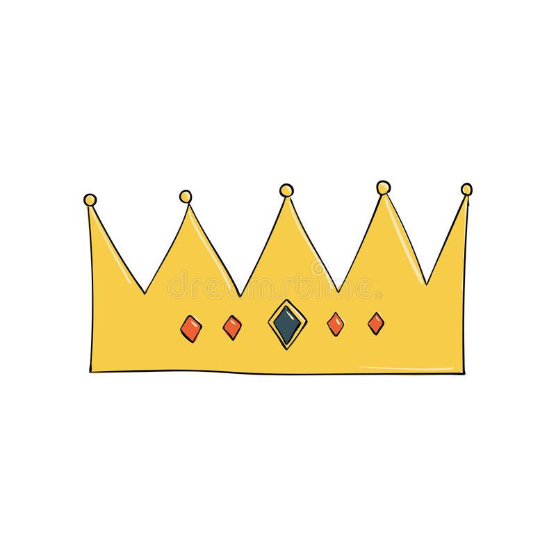 κορώνα με τους πολύτιμους λίθους και τα διαμάντια Ένα σύμβολο της αρχής Headpiece του βασιλιά Εικονίδιο που δείχνει την επιτυχία  απεικόνιση αποθεμάτων