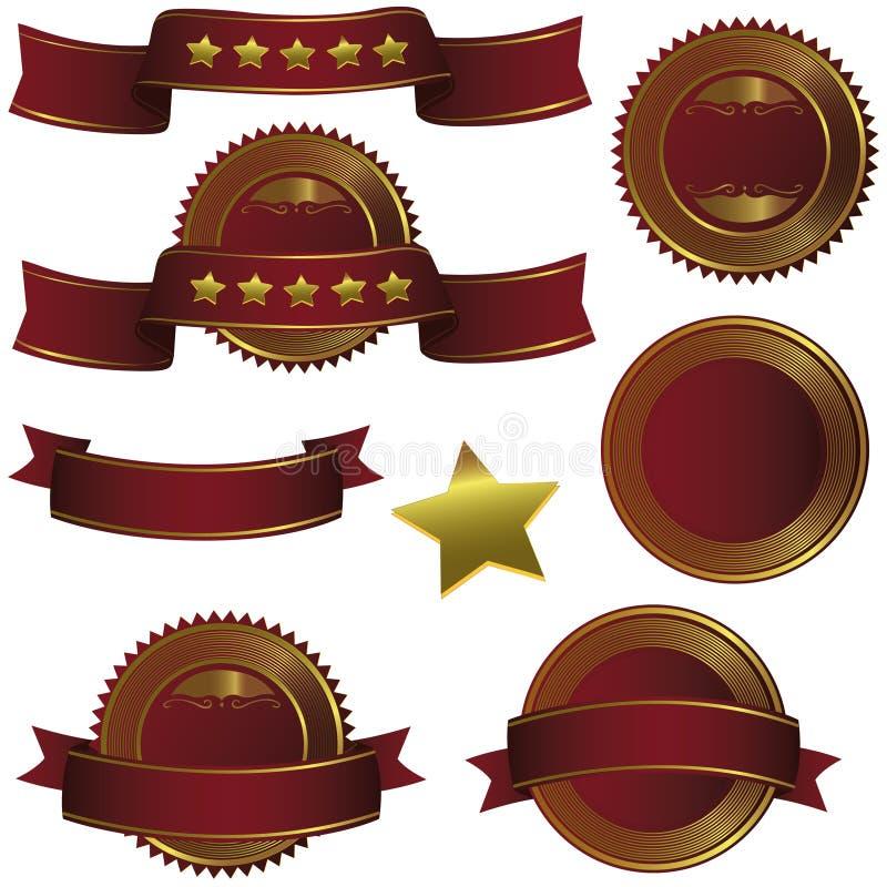 Κορδέλλα, ετικέτα και έμβλημα διακριτικών καθορισμένες - χρυσός κρασιού bordeau απεικόνιση αποθεμάτων