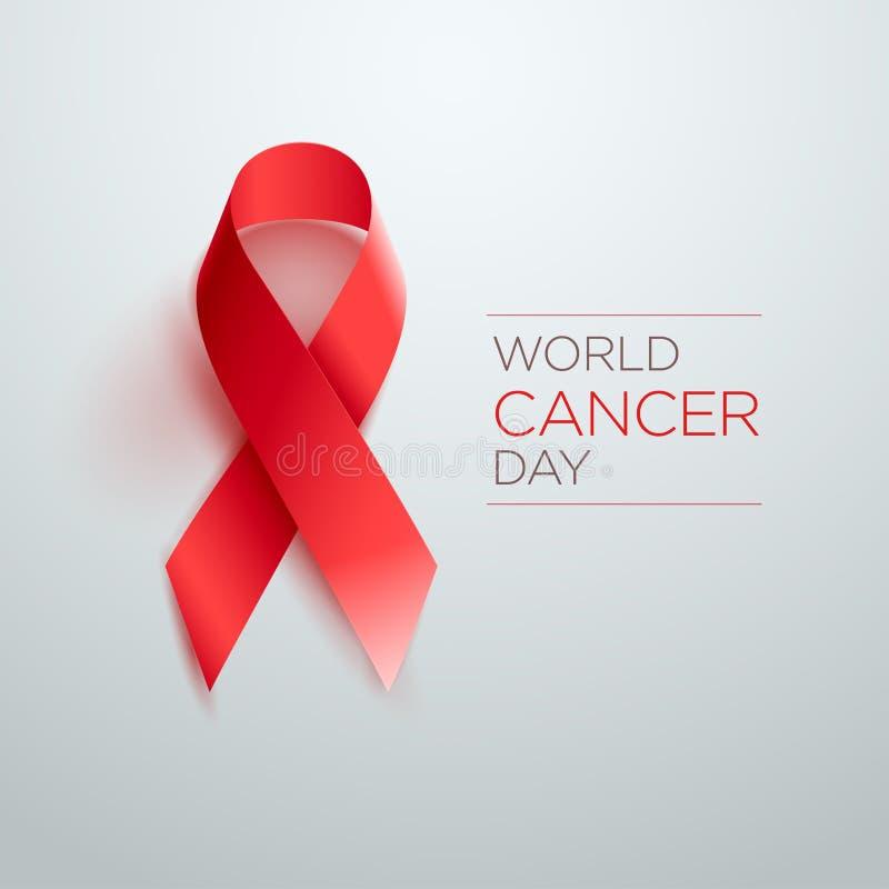 Κορδέλλα ημέρας παγκόσμιου καρκίνου απεικόνιση αποθεμάτων
