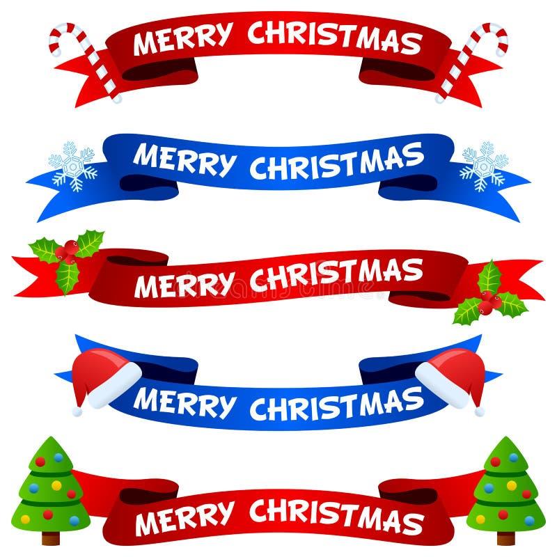 Κορδέλλες ή εμβλήματα Χαρούμενα Χριστούγεννας καθορισμένες απεικόνιση αποθεμάτων