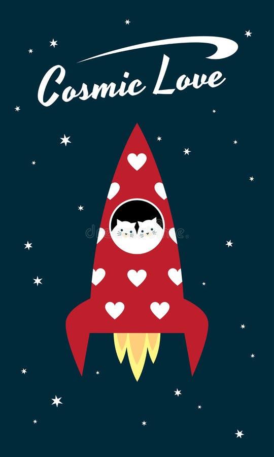 Κοσμικές γάτες διαστημοπλοίων αγάπης ελεύθερη απεικόνιση δικαιώματος