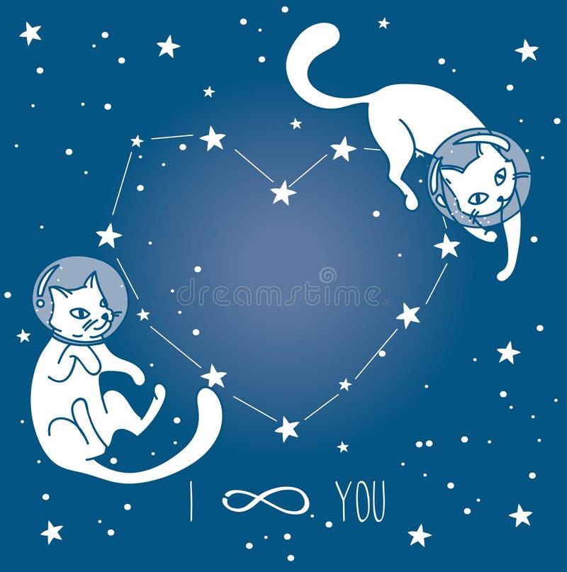 Κοσμική αφίσα για την αγάπη με τους γάτα-αστροναύτες doodle που επιπλέουν στο διάστημα διανυσματική απεικόνιση