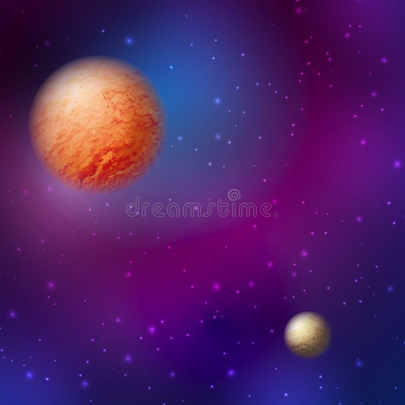 Κοσμικοί πλανήτες με έναν έναστρο ουρανό διανυσματική απεικόνιση