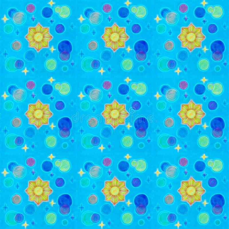 Κοσμικό άνευ ραφής σχέδιο Μπλε υπόβαθρο με τα χρυσά αστέρια, τον ήλιο και τον μπλε πλανήτη στοκ φωτογραφία με δικαίωμα ελεύθερης χρήσης