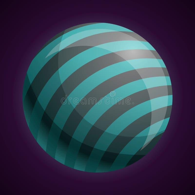 Κοσμικό ριγωτό εικονίδιο πλανητών, ύφος κινούμενων σχεδίων ελεύθερη απεικόνιση δικαιώματος