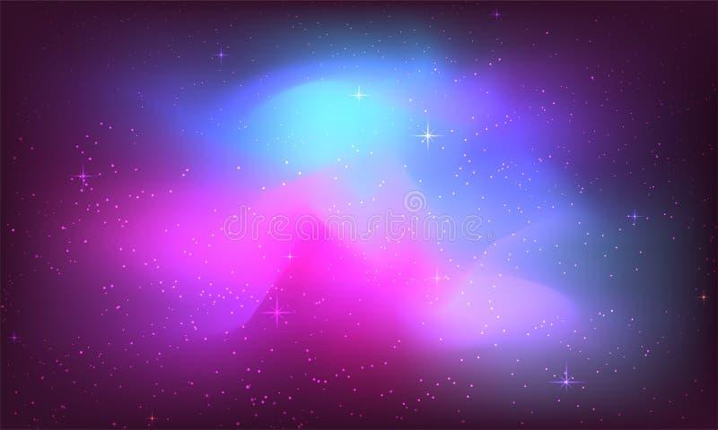 Κοσμικό υπόβαθρο γαλαξιών με το νεφέλωμα, τη αίσθηση μαγείας και το φωτεινό shinin ελεύθερη απεικόνιση δικαιώματος