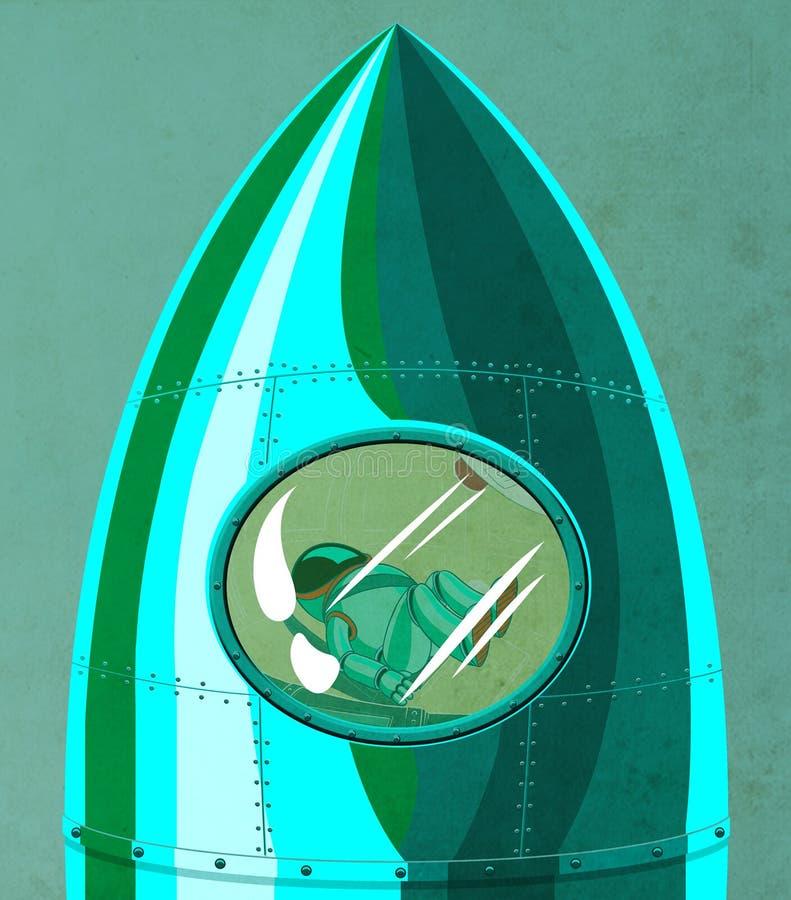 Κοσμοναύτης στο πιλοτήριο πυραύλων διανυσματική απεικόνιση
