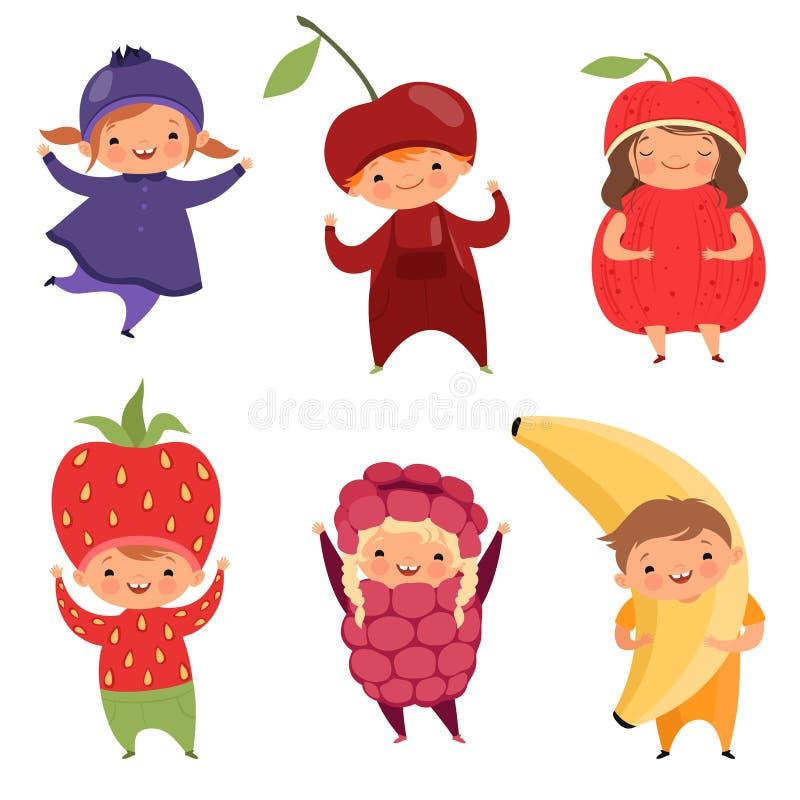 Κοστούμια φρούτων Ενδύματα καρναβαλιού για τα παιδιά Αστεία παιδιά στα φανταχτερά φορέματα φρούτων στο λευκό διανυσματική απεικόνιση