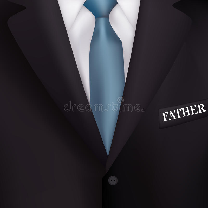 Κοστούμι ατόμων με υπόβαθρα ενός τα μπλε δεσμός-ύφους ρεαλισμού για τις προσκλήσεις, για την ημέρα του πατέρα διακοπών απεικόνιση αποθεμάτων