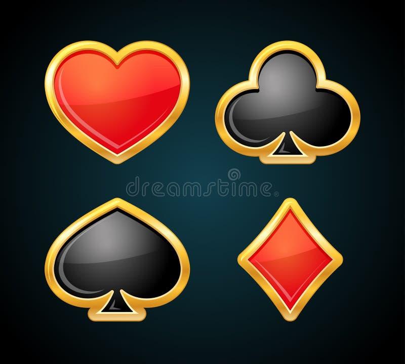 Κοστούμι καρτών παιχνιδιού με τα χρυσά σύνορα Εικονίδια χαρτοπαικτικών λεσχών Σύμβολα πόκερ διανυσματική απεικόνιση