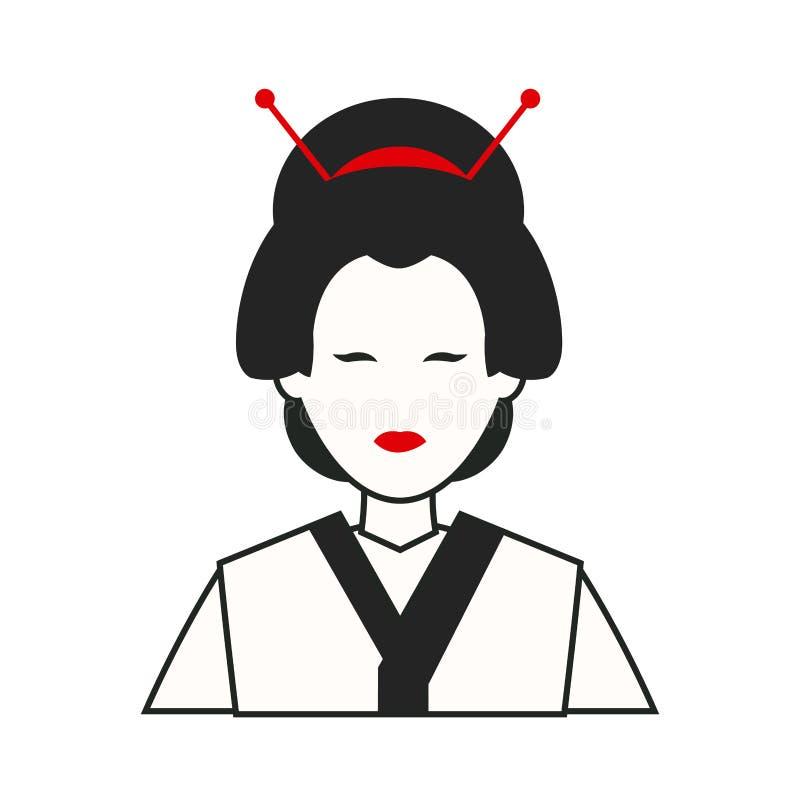 Κοστούμι της Ιαπωνίας γυναικών παραδοσιακό ελεύθερη απεικόνιση δικαιώματος