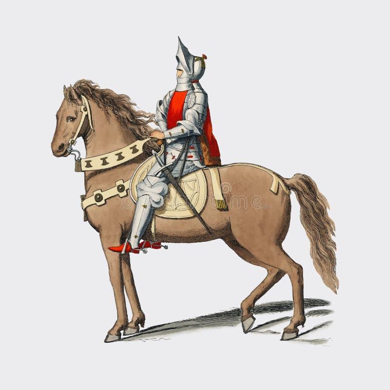 Κοστούμι Militaire Florentin, από το Paul Mercuri 1860 ένα πορτρέτο ενός ιππότη στο άλογο πίσω με το πλήρες τεθωρακισμένο Ψηφιακά απεικόνιση αποθεμάτων