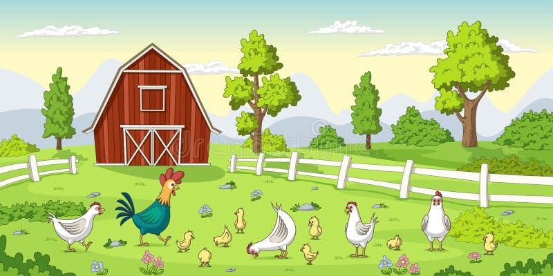 Κοτόπουλα σε ένα αγρόκτημα διανυσματική απεικόνιση