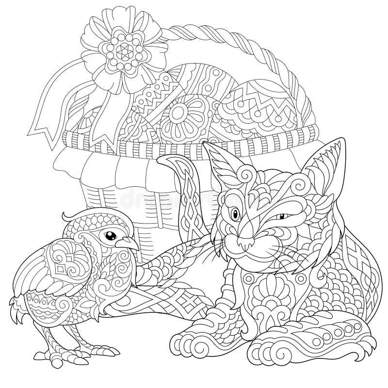 Κοτόπουλο γατών και μωρών Zentangle ελεύθερη απεικόνιση δικαιώματος