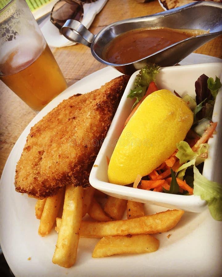 Κοτόπουλο και γεύμα τσιπ στοκ εικόνα με δικαίωμα ελεύθερης χρήσης