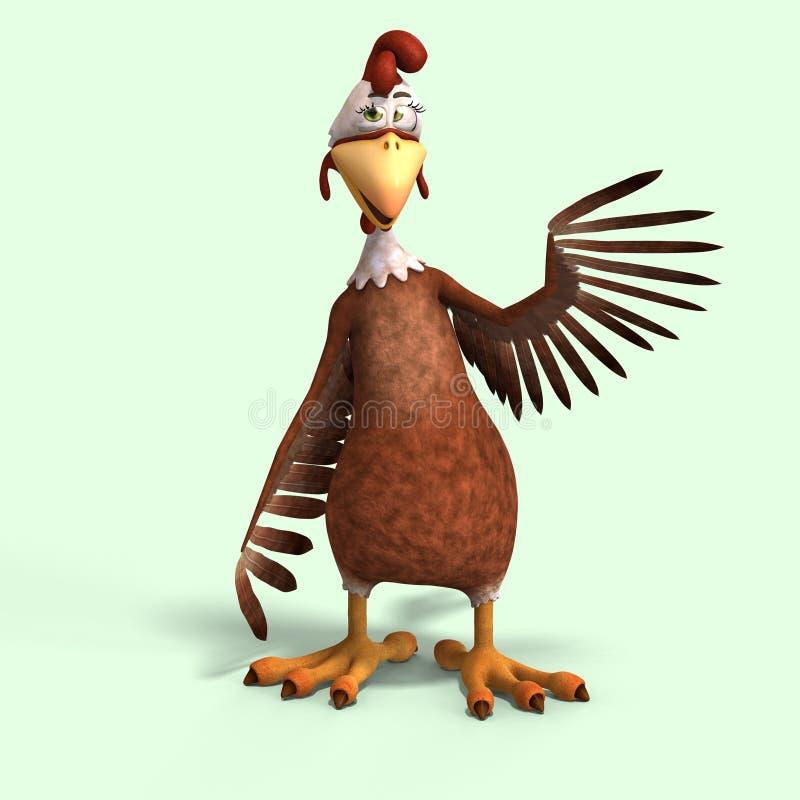 κοτόπουλο κινούμενων σχεδίων τρελλό απεικόνιση αποθεμάτων