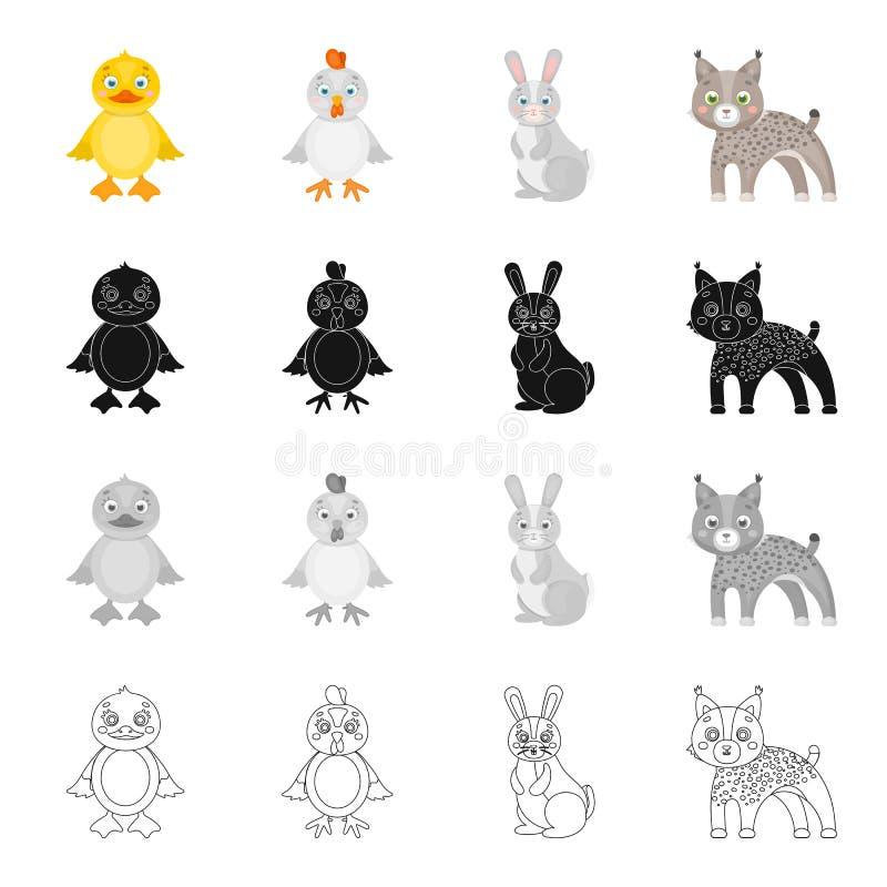 Κοτόπουλο, μωρό, πουλί, και άλλο εικονίδιο Ιστού στο ύφος κινούμενων σχεδίων Αγρόκτημα, παιχνίδια, κτήνος, εικονίδια στην καθορισ διανυσματική απεικόνιση