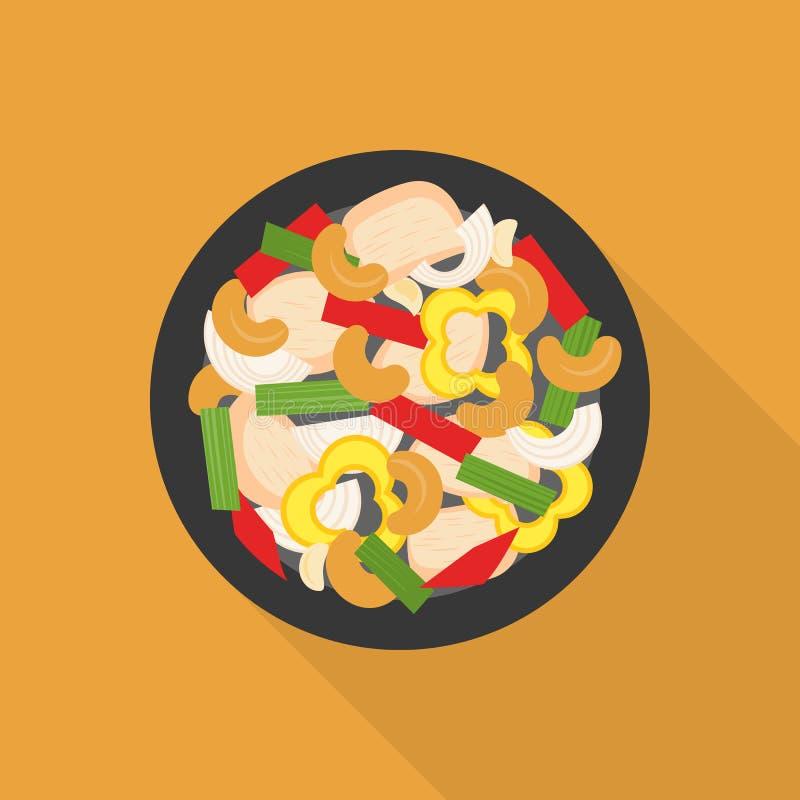 Κοτόπουλο που τηγανίζεται με τα καρύδια των δυτικών ανακαρδίων διανυσματική απεικόνιση