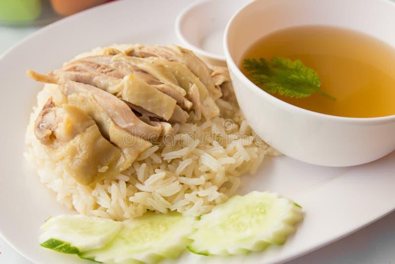 Κοτόπουλο και ρύζι για τα τρόφιμα της Ασίας στοκ εικόνες