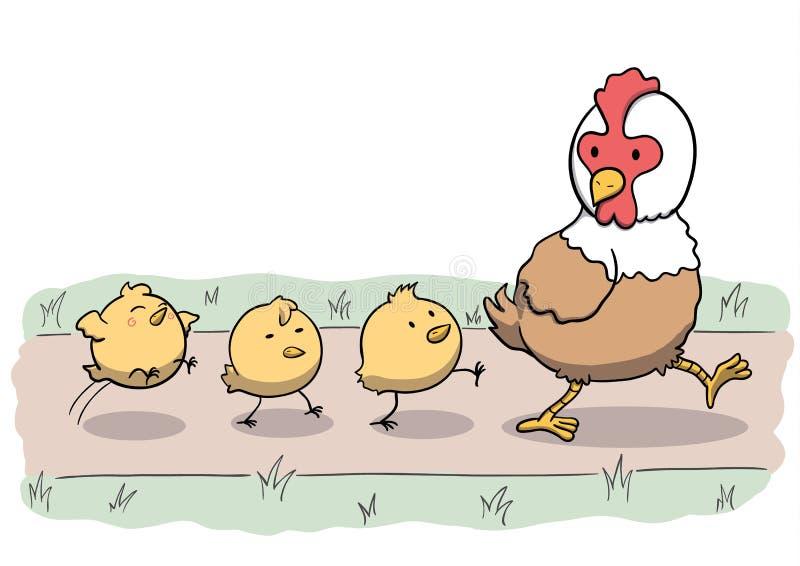 Κοτόπουλο και τρεις νεοσσοί που περπατούν σε έναν υπόλοιπο κόσμο ελεύθερη απεικόνιση δικαιώματος