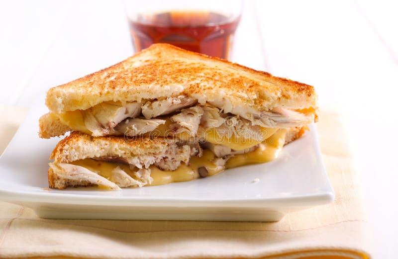 Κοτόπουλο και ψημένο στη σχάρα τυρί σάντουιτς στοκ φωτογραφίες με δικαίωμα ελεύθερης χρήσης