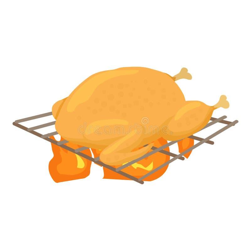 Κοτόπουλο που μαγειρεύεται σε ένα εικονίδιο σχαρών, ύφος κινούμενων σχεδίων ελεύθερη απεικόνιση δικαιώματος