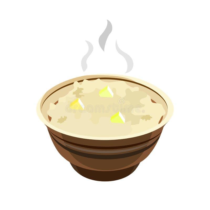 Κουάκερ βρωμών κινούμενων σχεδίων στο κεραμικό πιάτο που απομονώνεται διανυσματική απεικόνιση