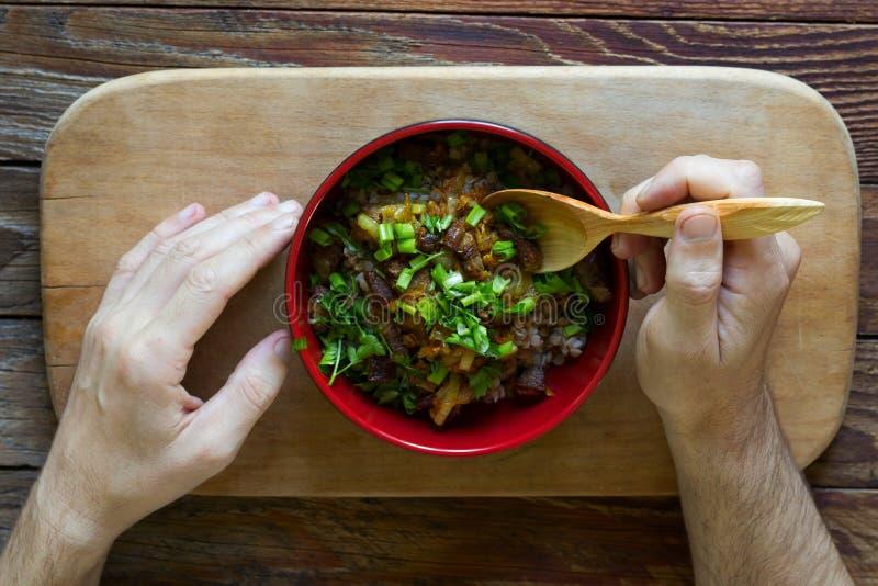 Κουάκερ φαγόπυρου με το κρέας στοκ φωτογραφία με δικαίωμα ελεύθερης χρήσης