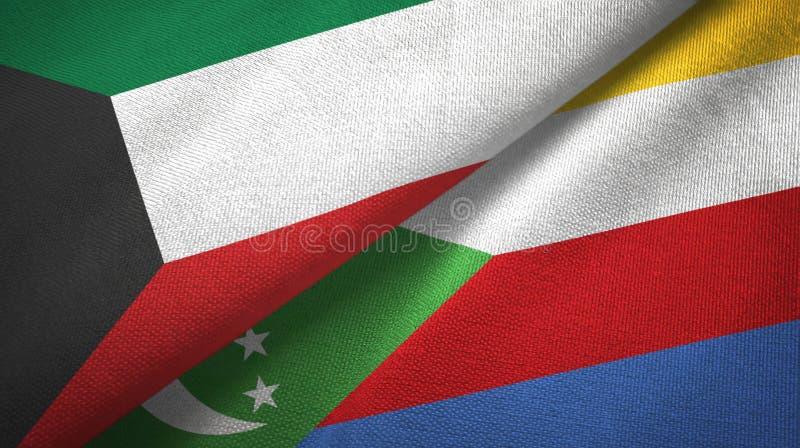 Κουβέιτ και Κομόρες δύο υφαντικό ύφασμα σημαιών, σύσταση υφάσματος διανυσματική απεικόνιση