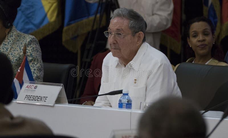 Κουβανικός Πρόεδρος Raul Castro στο άνοιγμα της 22$ης συνεδρίασης της ένωσης του καραϊβικού κρατικού υπουργικού Συμβουλίου στοκ εικόνες