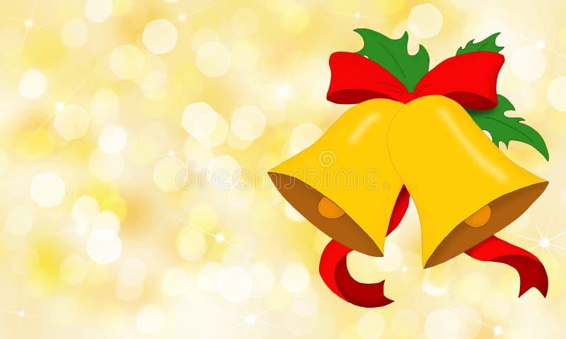 Κουδούνια Χριστουγέννων με το κόκκινο τόξο στη χρυσή ανασκόπηση στοκ εικόνα
