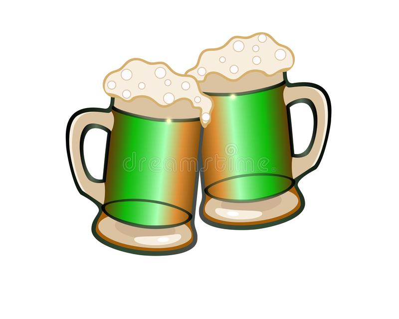 Κουδούνισμα Το κουδούνισμα των γυαλιών μπύρας Γυαλιά μπύρας με τον αφρό την ημέρα του Πάτρικ Δύο ποτήρια της μπύρας ελεύθερη απεικόνιση δικαιώματος