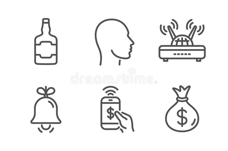 Κουδούνι, μπουκάλι ουίσκυ και επικεφαλής εικονίδια καθορισμένα Σημάδια τσαντών τηλεφωνικών πληρωμής, Wifi και χρημάτων Σήμα συναγ απεικόνιση αποθεμάτων