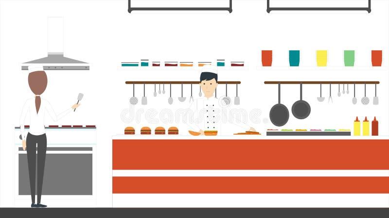 Κουζίνα γρήγορου φαγητού απεικόνιση αποθεμάτων