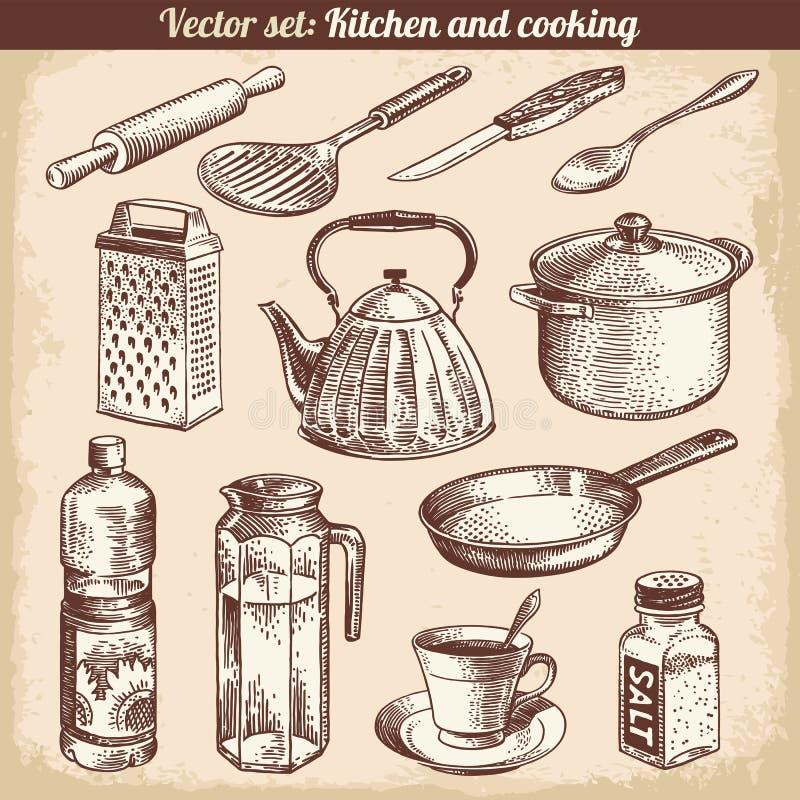 Κουζίνα και καθορισμένο διάνυσμα μαγειρέματος ελεύθερη απεικόνιση δικαιώματος