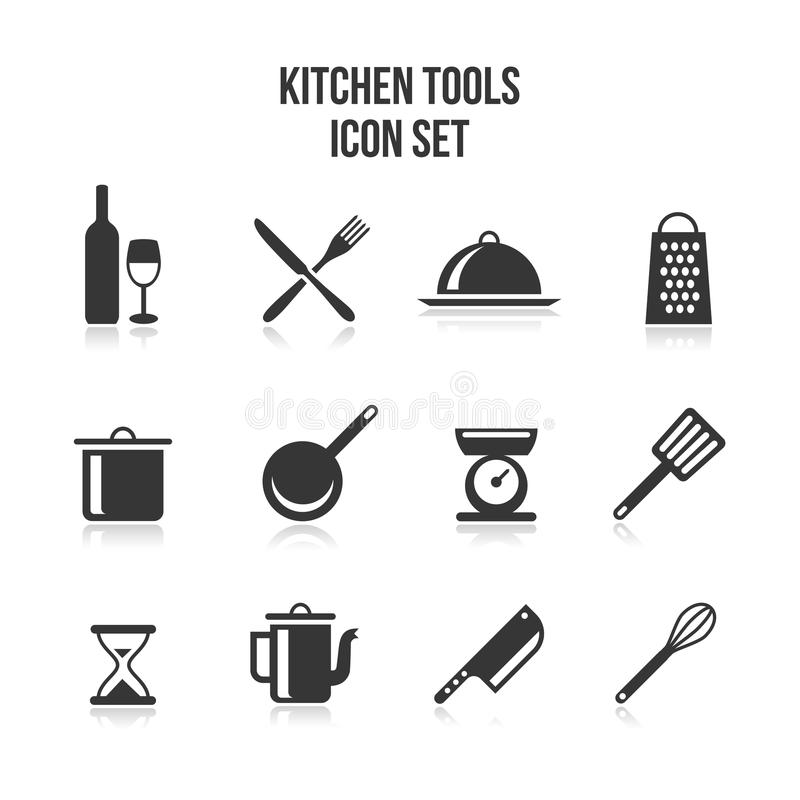 Κουζίνα και μαγειρεύοντας εικονίδια απεικόνιση αποθεμάτων