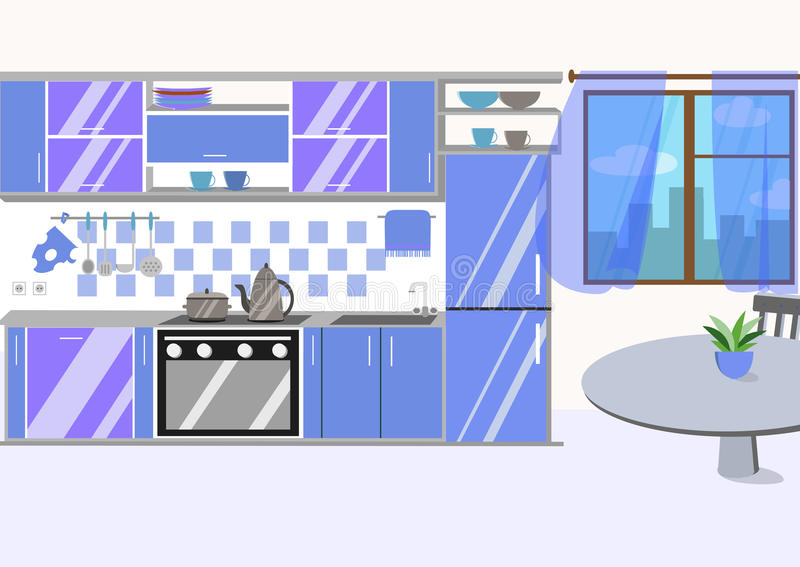 Κουζίνα με τα έπιπλα και τις μακριές σκιές Επίπεδο ύφος κινούμενων σχεδίων vect ελεύθερη απεικόνιση δικαιώματος
