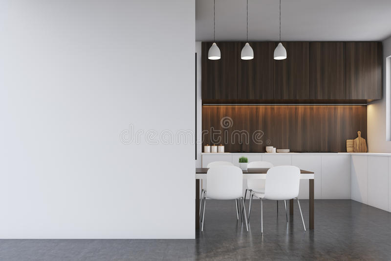 Κουζίνα με τα σκοτεινά ξύλινα έπιπλα, κενός τοίχος διανυσματική απεικόνιση