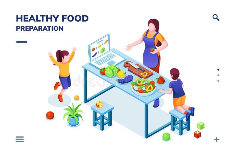 Κουζίνα με την οικογένεια, μαγειρεύοντας υγιή vegan τρόφιμα διανυσματική απεικόνιση