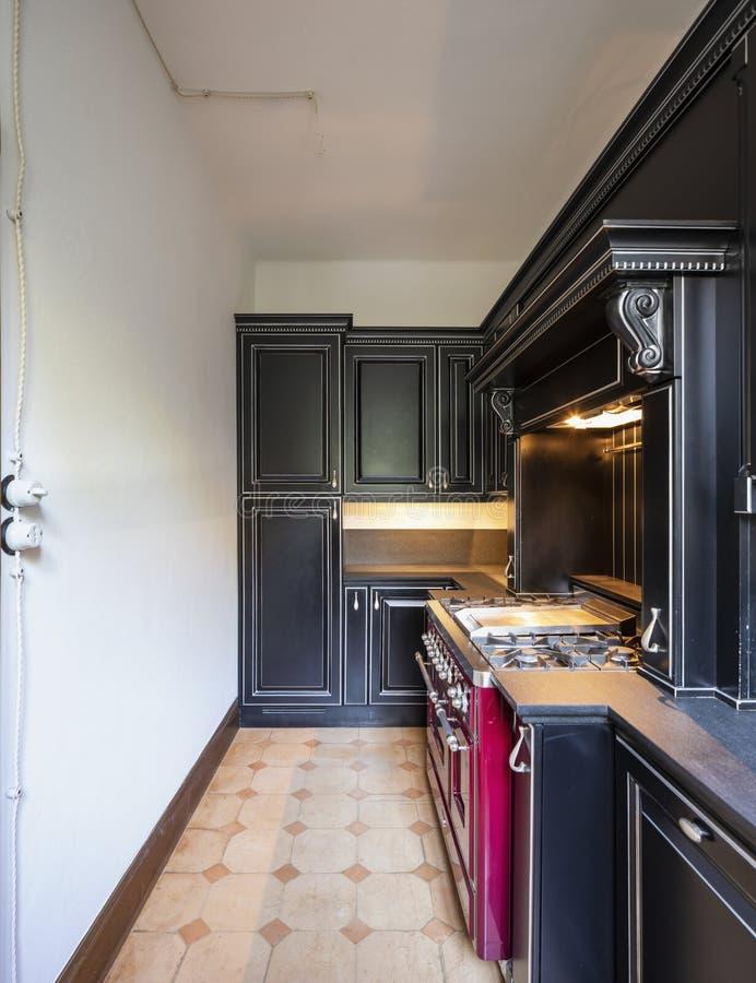 Κουζίνα με τις μαύρες ξύλινες πόρτες και τους άσπρους τοίχους στοκ εικόνες