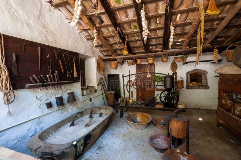 κουζίνα παλαιά Μεσαιωνικό Λα Granja φέουδο-μουσείων στο νησί στοκ εικόνα