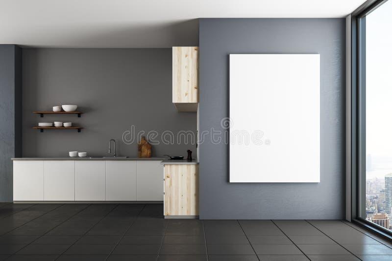 Κουζίνα πολυτέλειας με το κενό έμβλημα στοκ φωτογραφίες με δικαίωμα ελεύθερης χρήσης
