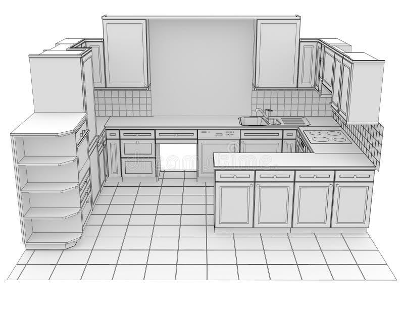 Κουζίνα που δίνεται από τις γραμμές διανυσματική απεικόνιση