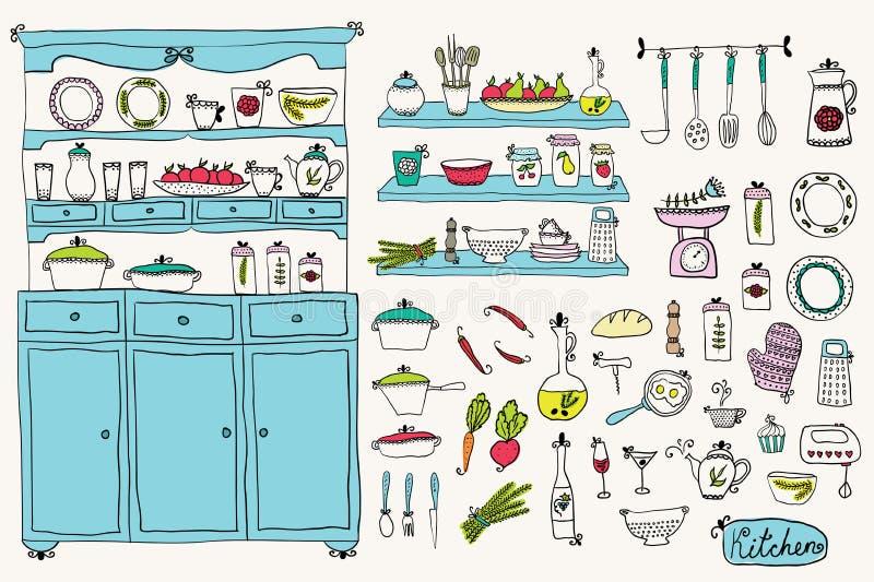 Κουζίνα που τίθεται στο διάνυσμα Στοιχεία σχεδίου της κουζίνας ελεύθερη απεικόνιση δικαιώματος