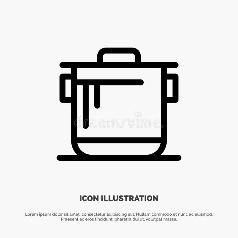 Κουζίνα, κουζίνα, ρύζι, διανυσματικό εικονίδιο γραμμών Cook διανυσματική απεικόνιση